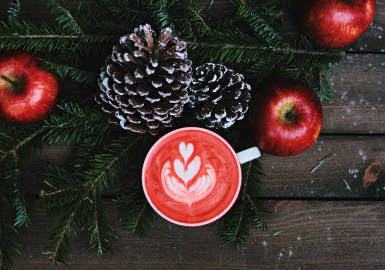 a holiday themed warm beverage surrounded by pine cones, cranberries and a garland